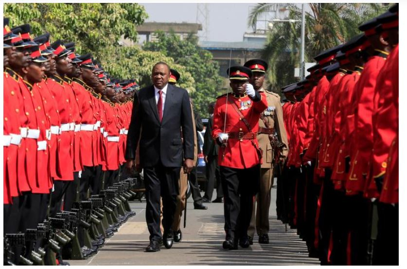 Kenya's President Uhuru Kenyatta inspects the honour guard before the opening of the 12th Parliament outside the National Assembly Chamber in Nairobi, Kenya September 12, 2017. REUTERS/Thomas Mukoya
