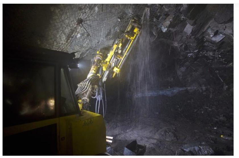 Drilling operations at a depth of 516 metres below the surface at the Chibuluma copper mine in the Zambian copperbelt region, January 17, 2015. REUTERS/Rogan Ward