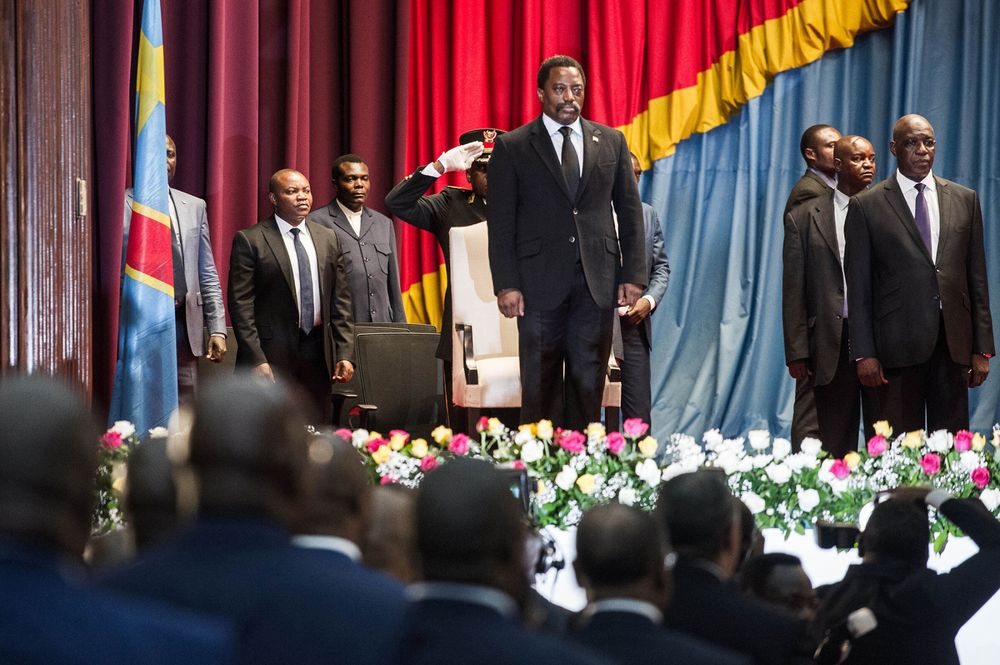 Joseph Kabila arrives to deliver a speech at the Palace of the People in Kinshasa on April 5, 2017. Photographer: Junior D. Kannah/AFP/Getty Images