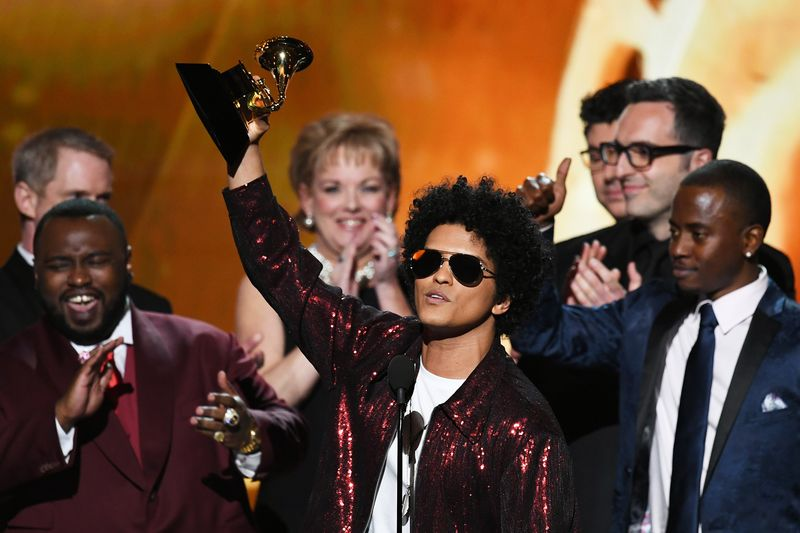 Bruno Mars accepts Album of the Year for '24K Magic' during the 60th Annual Grammy Awards at Madison Square Garden on Jan. 28.  Photographer: Kevin Winter/Getty Images