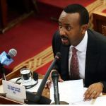Ethiopia's newly elected Prime Minister Abiy Ahmed addresses the members of parliament inside the House of Peoples' Representatives in Addis Ababa, Ethiopia April 19, 2018. REUTERS/Tiksa Negeri