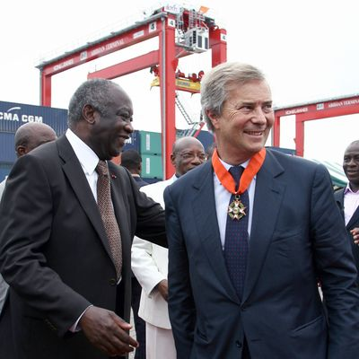 Bollore and Gbagbo in Abidjan, 2008. Photographer: Issue Sanogo/AFP via Getty Images