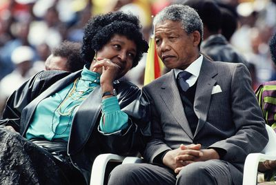 Winnie with her husband, Nelson Mandela, in Soweto on Feb. 13, 1990. Photographer: Georges De Keerle/Hulton Archive via Getty Images