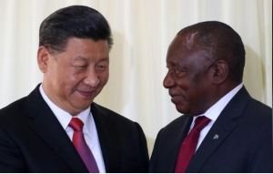 China's President Xi Jinping talks with South African President Cyril Ramaphosa after their media conference in Pretoria, South Africa, July 24, 2018. REUTERS/Mike Hutchings