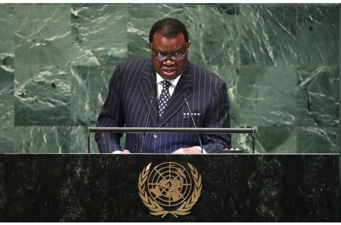 Namibia's President Hage Geingob addresses the 73rd session of the United Nations General Assembly at U.N. headquarters in New York, U.S., September 26, 2018. REUTERS/Carlo Allegri
