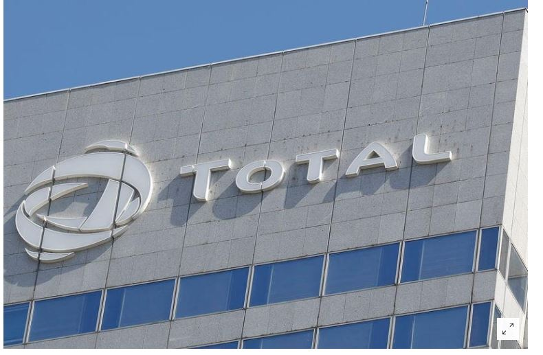 The logo of French oil giant Total is pictured on the facade of a building in Paris, France, August 5, 2018. REUTERS/Regis Duvignau