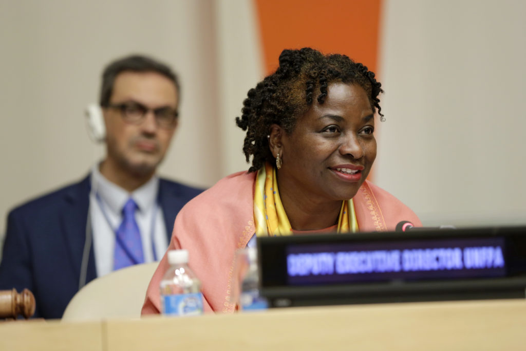 Scenes from the Official Commemoration of the International Day for the Elimination of Violence Against Women held in the ECOSOC Chamber in United Nations Headquarters on 21 November 2016. Pictured: Natalia Kanem, Deputy Executive Director UNFPA   As in previous years, the Official Commemoration took place at the start of the 16 Days of Activism against Gender-Based Violence, and marks the beginning of the UNiTE CampaignÕs ÒOrange the World: End Violence Against Women and GirlsÓ initiative.   This year the UNiTE CampaignÕs call for the 16 Days of Activism Against Gender-Based Violence is ÒOrange the World: Raise Money to End Violence Against Women and Girls.Ó  Photo: UN Women/Ryan Brown