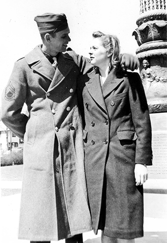 March 1943 - Bronxville, New York - Tech Sergeant Lawrence Cole visits Evelyn while she's at NYU