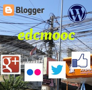 photo of telegraph pole with a confusion of wires and cables in a street in Cambodia. Overlaid with logos from well-known online network sites