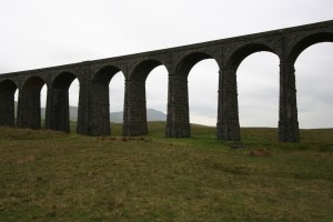 viaduct spanning countryside with mouintain in back ground seen between the arches