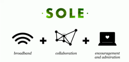 Image that has SOLE written at the top with a definition of it below - a symbole denoting broadband plus another indicating collaboration and a third to represent encouragement and admiration.