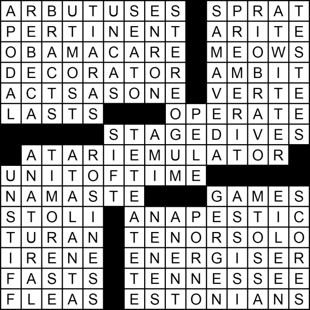 """Solution to the """"Open Letters"""" crossword puzzle"""