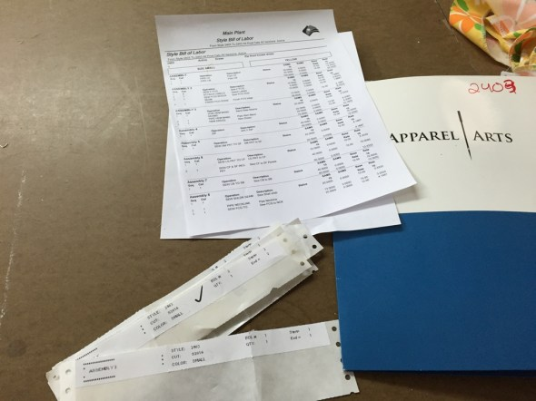 Production report, sewing operations and cost estimates at a glance.