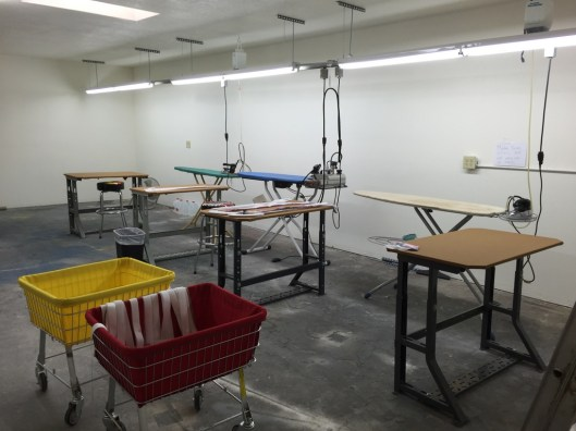 The pressing room.