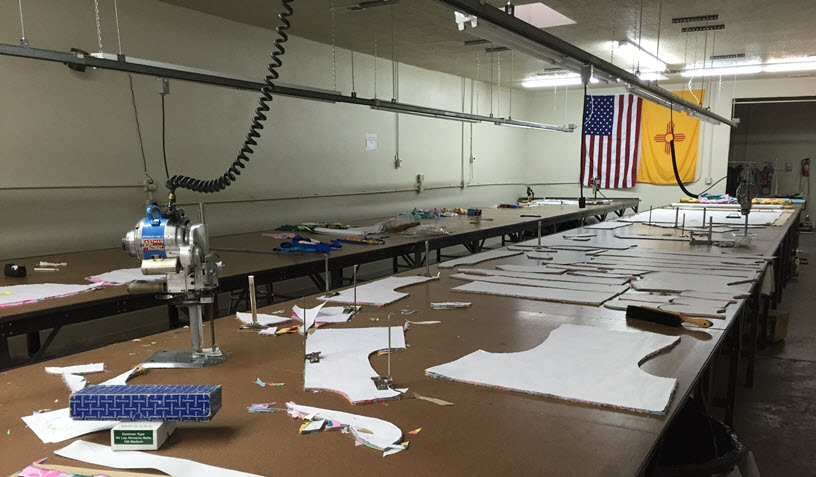 The cutting room at apparel manufacturing boot camp, Spring 2016.