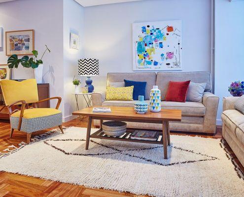 Abracadabra Decor Vigo Home Staging pequeña reforma- salón tras ampliación, rediseño del espacio y nuevo mobiliario