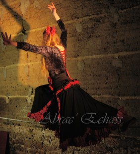 flamenca danse sur fil de fer danse flamenco spectacle rouge et noir cirque animation evenementiel guitare espagnol gitan (18)