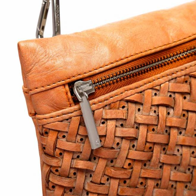 Abbacino cognac leather cross body bag detail