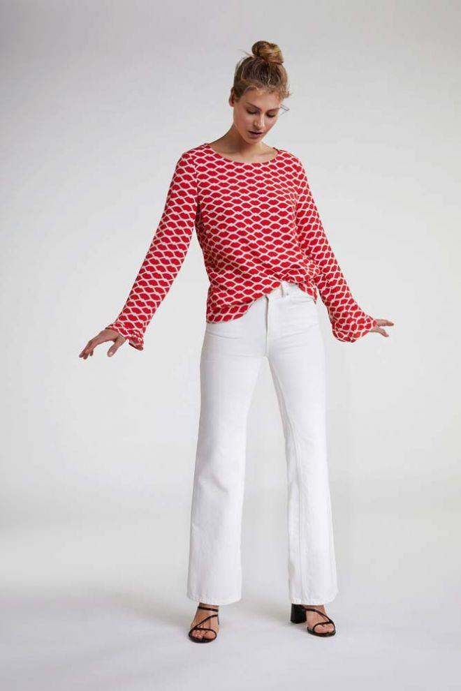 Oui Lip print blouse