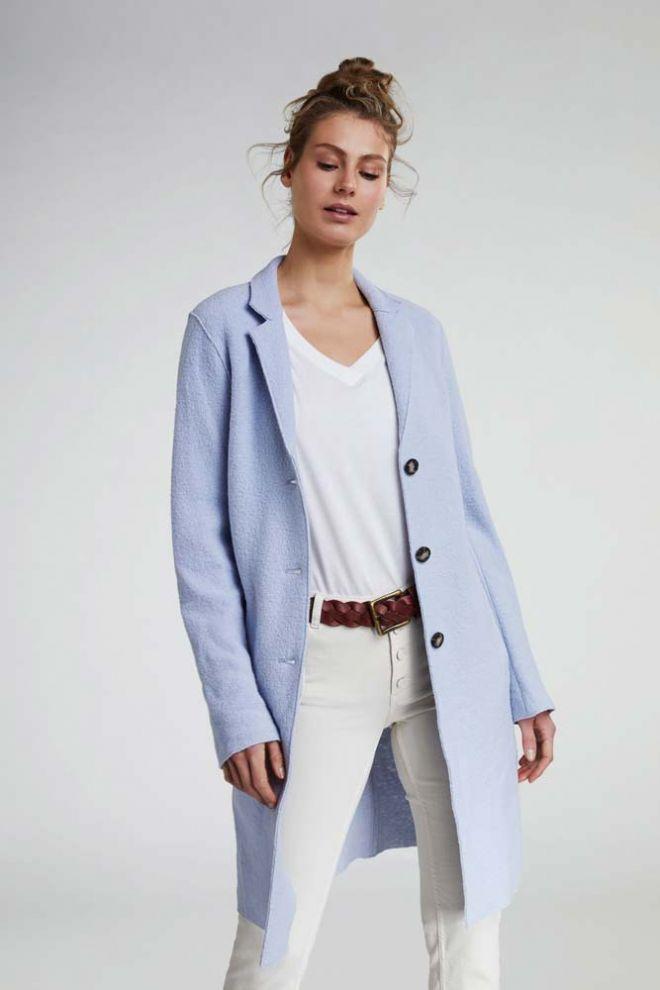 Oui Boiled Wool coat in Pale Blue