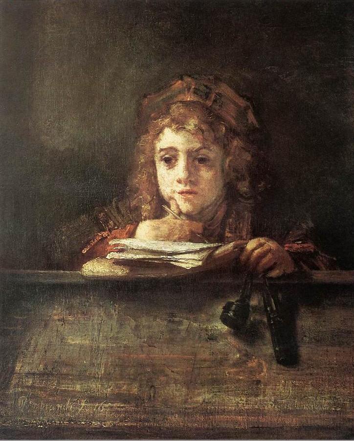 Rembrandt - Titus sentado à secretária, 1655