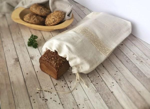 Vrecko na chlieb z ľanového plátna
