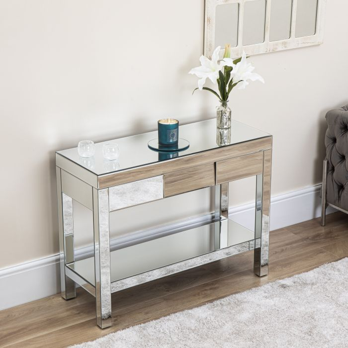 mirrored angled console table