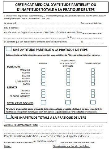 Certificat Médical Pour Leps Collège Anne De Bretagne