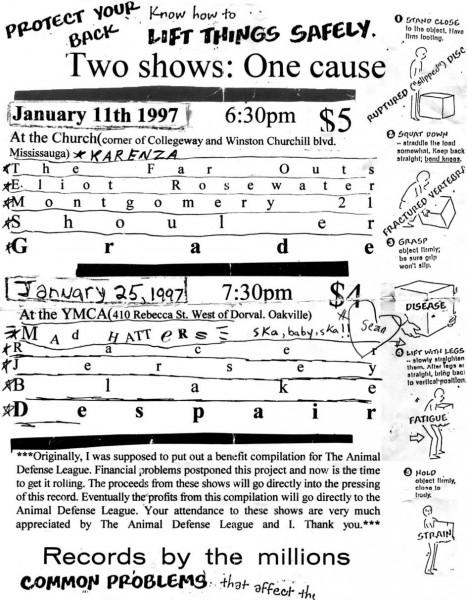 Benefit for the Animal Defense League Compilation, January 11th and 25th 1997. With Karenza, The Far Outs, Eliot Rosewater, Montgomery 21, Shoulder, Grade, The Mad Hatters, Racer, Jersey, Blake and Despair.