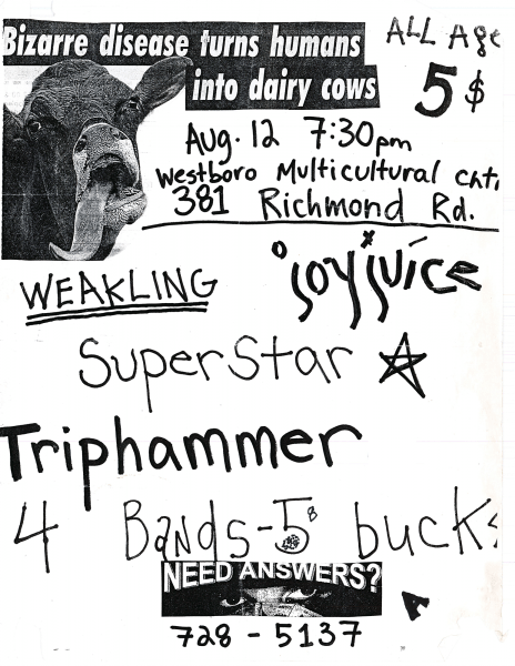 JoyJuiceperforming at the Westboro Multicultural Church (Ottawa Chinese Bible Church) on August 12th 1993 with Weakling, Superstar and Triphammer