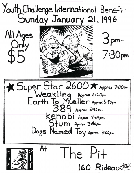 Kenobi performing at The Pit for the Youth Challenge International Benefit on January 21st 1996 with Super Star 2600, Weakling, Earth to Mueller, 389, Stum and Dogs Named Toy