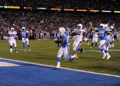 Darren Sproles  scores the winning touchdown against the Colts with  a 22yd run in the wildcard round of the playoffs ...............