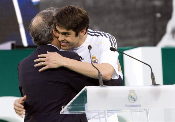 Official   presentation of  the  Brazilian international  player  Kaka  to  the  fan  at  the  Santiago Bernabau  Stadium  ,  Madrid  ,  Spain.   There  was  in  excess  of   50,000   fans  in the  stadium  to  greet  the  player  at the  official presentation.  picture  appears  courtesy  of  photo  agency  -photo  ..............................