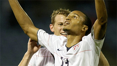 Ricardo  Clark  of  the  US  celebrates  after  scoring the  team's   lone  goal  to  secure  a  1-0 victory  over  Trinidad  & Tobago  ,  in  Port  of Spain ,  Trinidad.    picture appears  courtesy  of   ap/photo/ Fernando  Llana   ..............................
