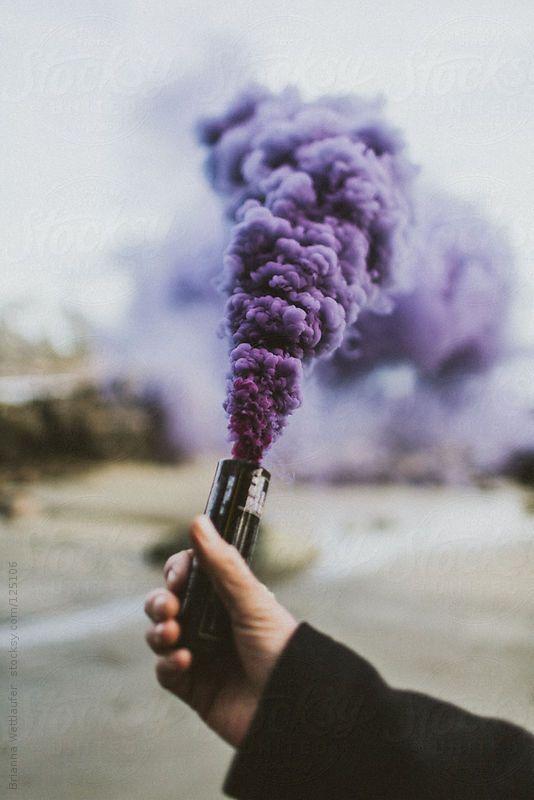 purple smoke bomb photography