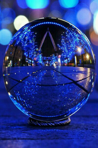 Crystal Ball Photo Effect blue landscape