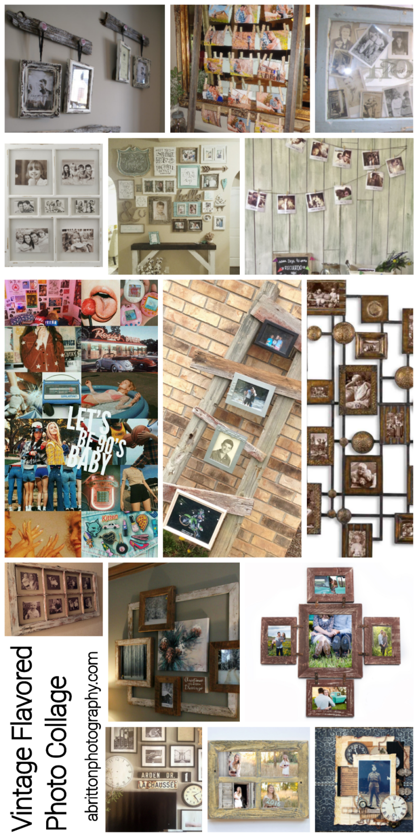 vintage flavored photo collage ideas