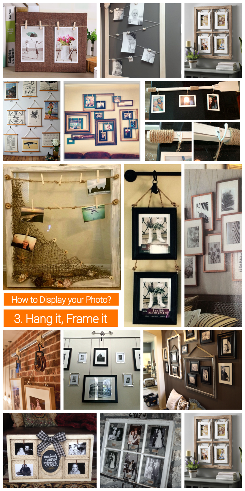 how to display  photo collage - hang and frame photo collage