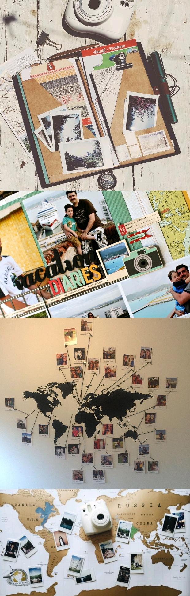 polaroid travel map journal