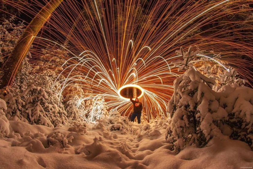 Winter steel wool photography ideas