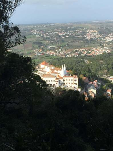 View of Sintra National Palace from Castillo de Mouros Gardens