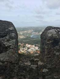 View of Sintra National Palace from Castillo de Mouros