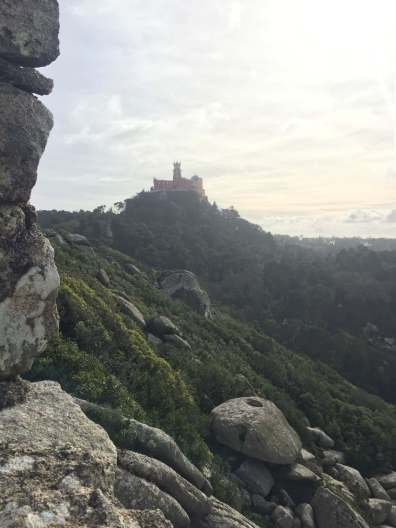 View of Pena Palace from Castillo de Mouros