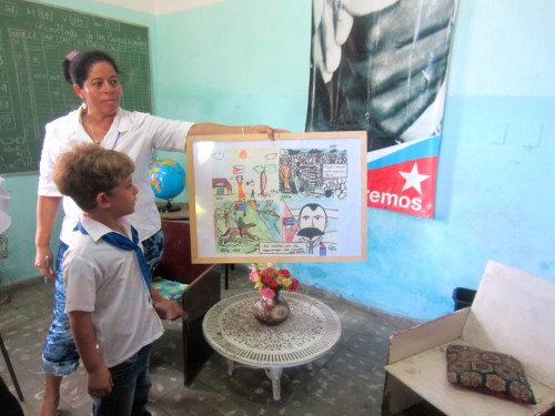 The most poised 3rd grader explains his art on the life of Jose Marti