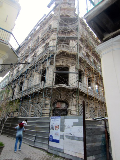 One of the old town buildings under restoration