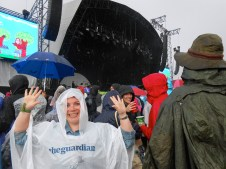 Waiting in the rain (with my amazing Guardian poncho) for Imagine Dragons