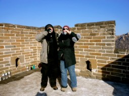 Nick and I enjoy a beer on the Great Wall of China on New Year's Day.