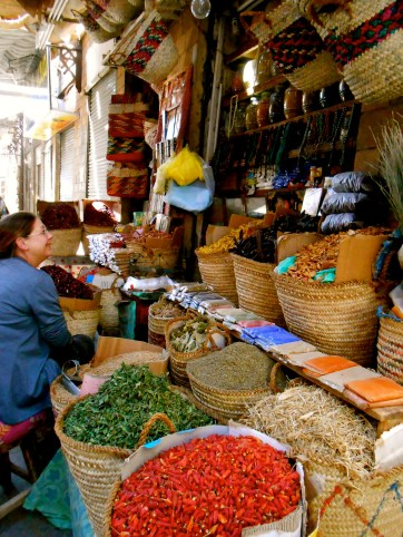 Mom explores the spice market of Luxor.