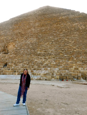 Mom in front of the Great Pyramid of Khufu.