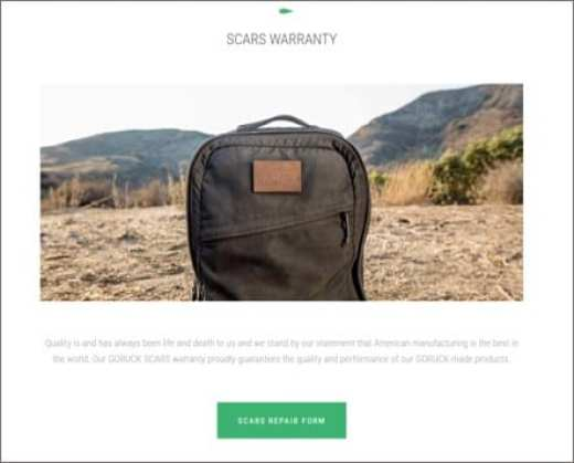 The GORUCK GR3 Scars Lifetime Warranty guarantees this bag for life, and GORUCK ships internationally making this the perfect durable world travel backpack